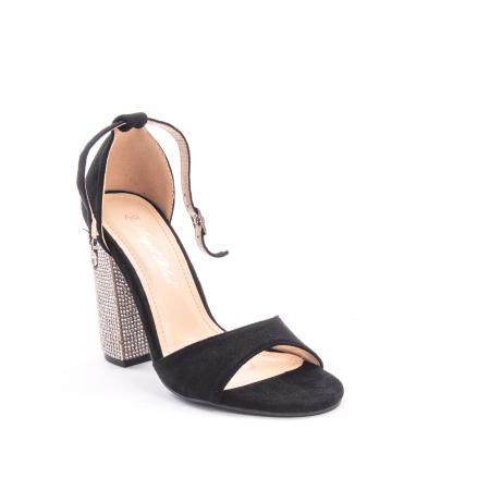 Sandale dama elegante Angel Blue 650, piele eco, negru0