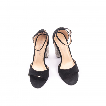 Sandale dama elegante Angel Blue 650, piele eco, negru2