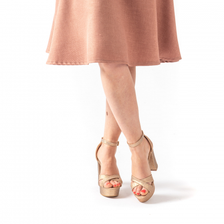 Sandale elegante dama cu platforma AB734 auriu [4]