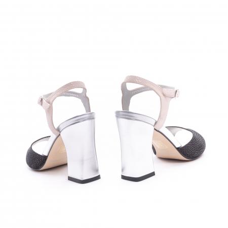 Sandale dama elegante piele naturala Epica oe6612 negru-argintiu6