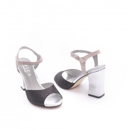 Sandale dama elegante piele naturala Epica oe6612 negru-argintiu3