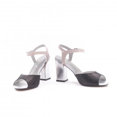 Sandale dama elegante piele naturala Epica oe6612 negru-argintiu4