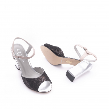 Sandale dama elegante piele naturala Epica oe6612 negru-argintiu2