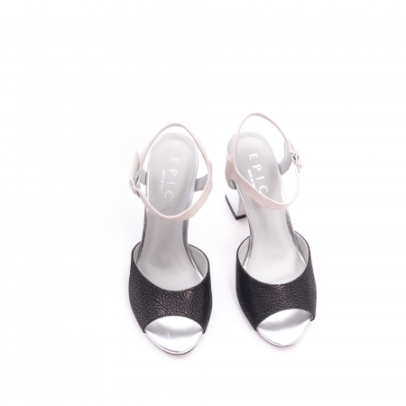 Sandale dama elegante piele naturala Epica oe6612 negru-argintiu5