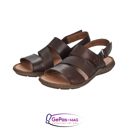 Sandale barbati, piele naturala, maro, 22079-256
