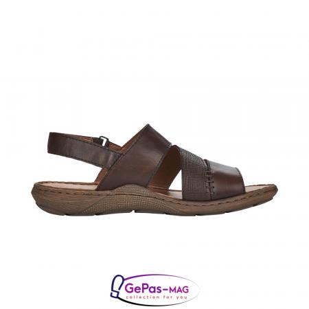 Sandale barbati, piele naturala, maro, 22079-252
