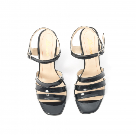 Sandale dama elegante, piele naturala, Nike Invest 1080, negru lac5