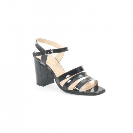 Sandale dama elegante, piele naturala, Nike Invest 1080, negru lac0