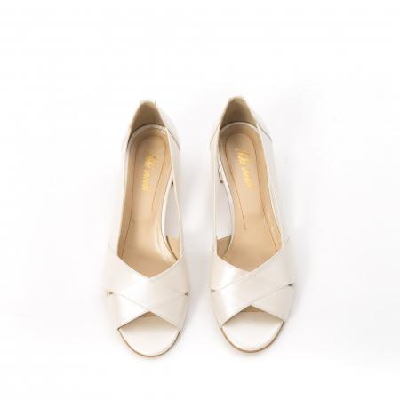 Decupati eleganti de   dama din piele naturala ,culoare alb sidef ,Nike Invest 254 B85