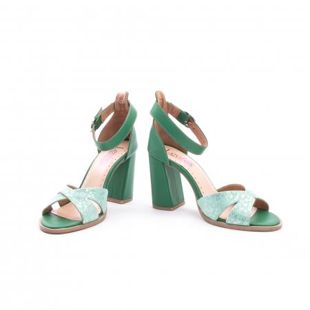 Sandale dama elegante piele naturala, Leofex 148, verde4