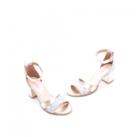 Sandale dama LFX 228 blue cu auriu1