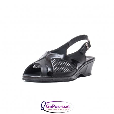 Sandale dama, piele naturala intoarsa, SU0292TP negru