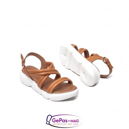Sandale dama, piele naturala, L3MS-1083 coniac [3]