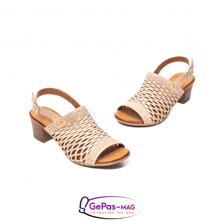 Sandale dama, piele naturala, O9030 03-N bej1