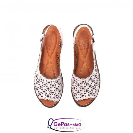 Sandale dama, piele naturala, O9409 Alb5