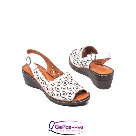 Sandale dama, piele naturala, O9409 Alb2