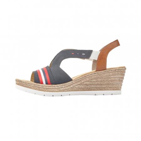 Sandale dama elegante, piele naturala, RIK 619S6-14, bleumarin5