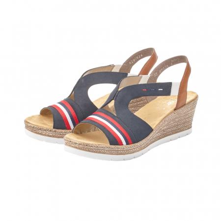 Sandale dama elegante, piele naturala, RIK 619S6-14, bleumarin2