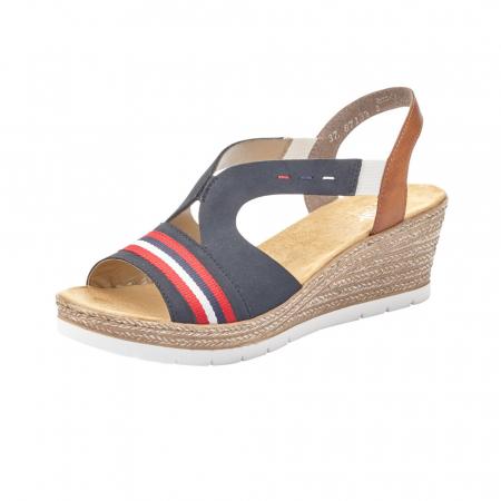 Sandale dama elegante, piele naturala, RIK 619S6-14, bleumarin0
