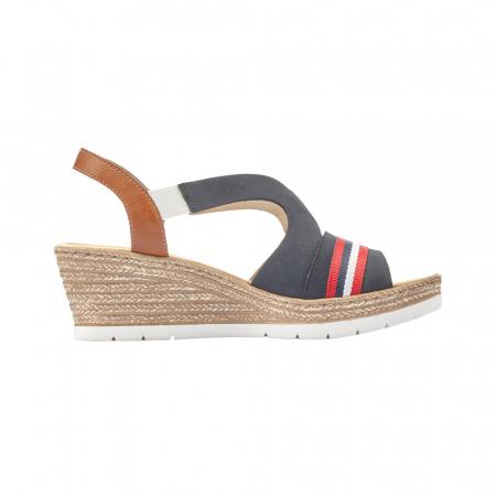 Sandale dama elegante, piele naturala, RIK 619S6-14, bleumarin6