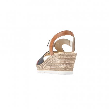 Sandale dama elegante, piele naturala, RIK 619S6-14, bleumarin3