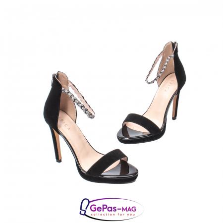 Sandale elegante dama, piele naturala de antilopa, JZA73 negru1