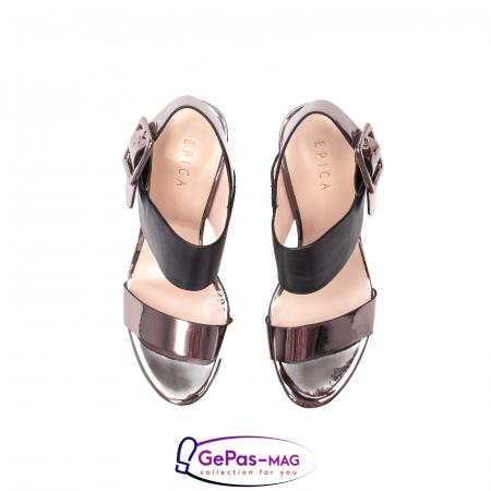 Sandale elegante dama, piele naturala, JZ81757 negru-gri metal5