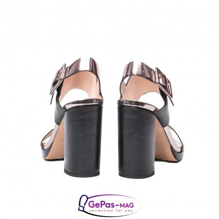 Sandale elegante dama, piele naturala, JZ81757 negru-gri metal6