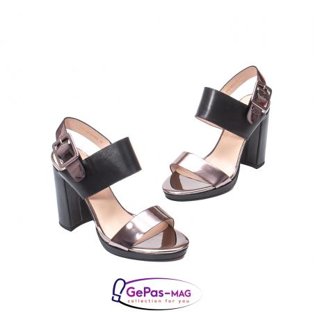 Sandale elegante dama, piele naturala, JZ81757 negru-gri metal1