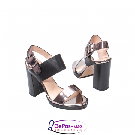 Sandale elegante dama, piele naturala, JZ81757 negru-gri metal2
