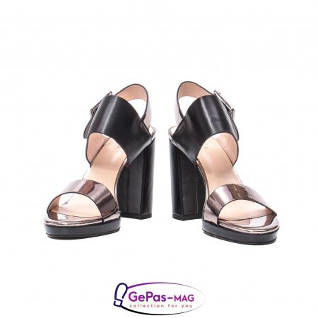 Sandale elegante dama, piele naturala, JZ81757 negru-gri metal4