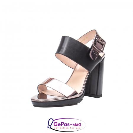 Sandale elegante dama, piele naturala, JZ81757 negru-gri metal0
