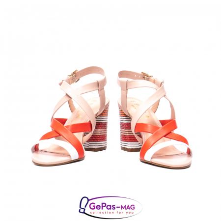 Sandale elegante dama, piele naturala, OE10012 nude/corai [4]