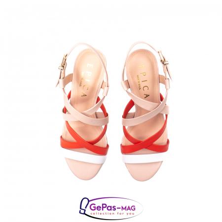 Sandale elegante dama, piele naturala, OE10012 nude/corai [5]