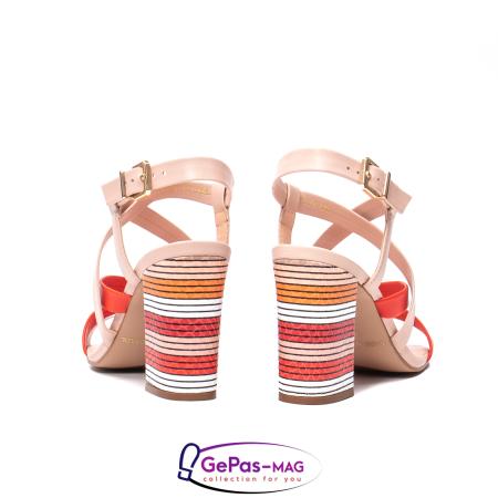 Sandale elegante dama, piele naturala, OE10012 nude/corai [6]