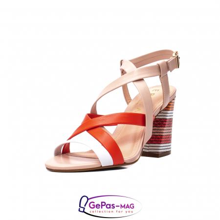 Sandale elegante dama, piele naturala, OE10012 nude/corai [0]