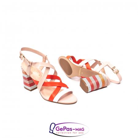 Sandale elegante dama, piele naturala, OE10012 nude/corai [3]