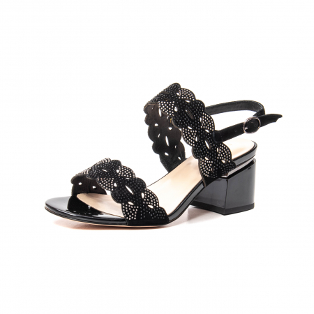 Sandale elegante dama, piele naturala velur, B218J454 negru [0]