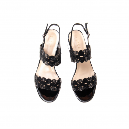 Sandale elegante dama, piele naturala velur, B218J454 negru [4]
