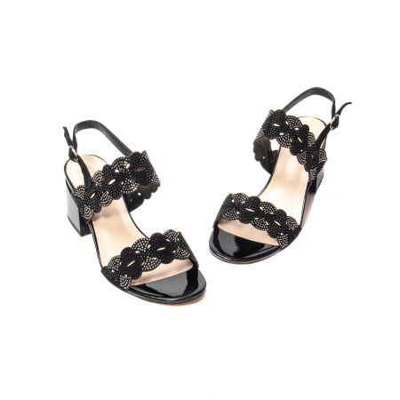 Sandale elegante dama, piele naturala velur, B218J454 negru [1]