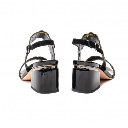 Sandale elegante dama, piele naturala velur, B218J454 negru [5]