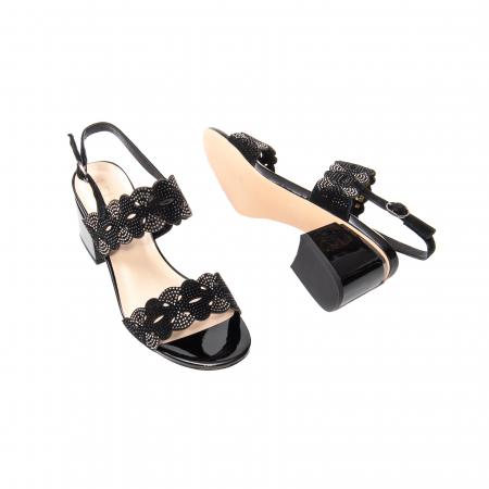 Sandale elegante dama, piele naturala velur, B218J454 negru [3]