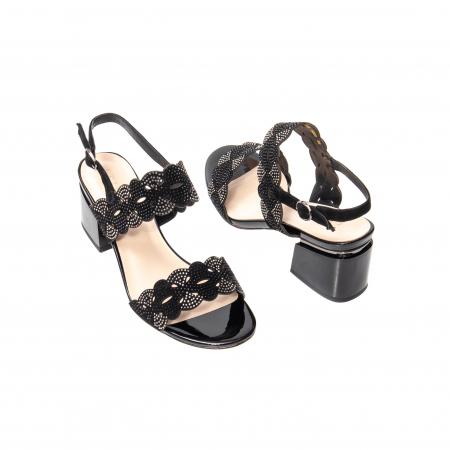Sandale elegante dama, piele naturala velur, B218J454 negru [2]