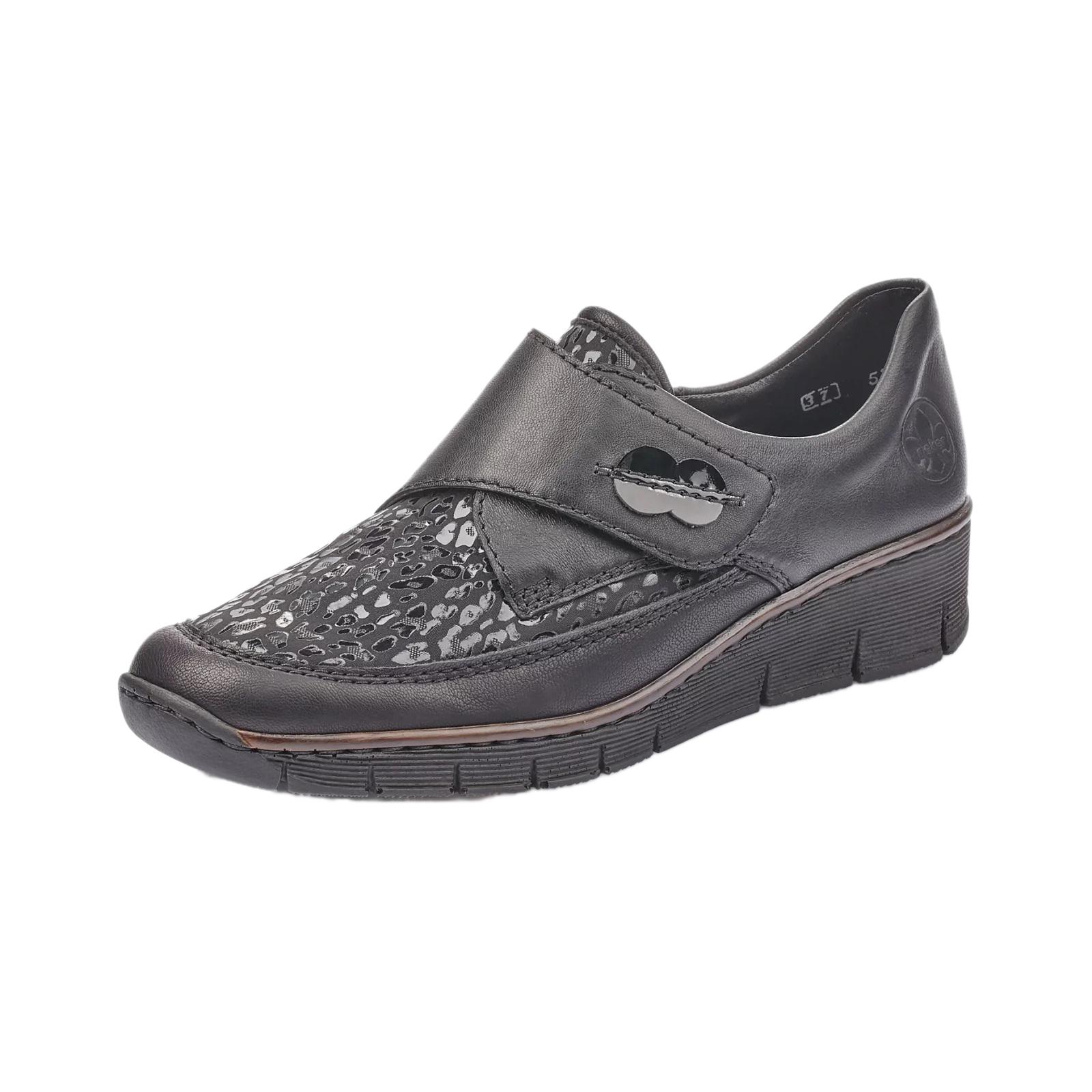 la preț mic design unic multiple culori Pantofi casual dama piele naturala Rieker 537C0-00, negru - Rieker