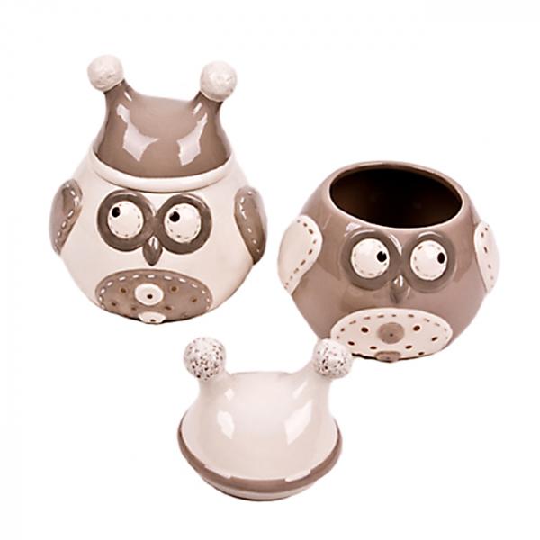 Borcan ceramic cu capac Owl - mare 0