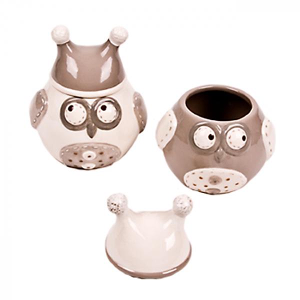 Borcan ceramic cu capac Owl - mediu 0