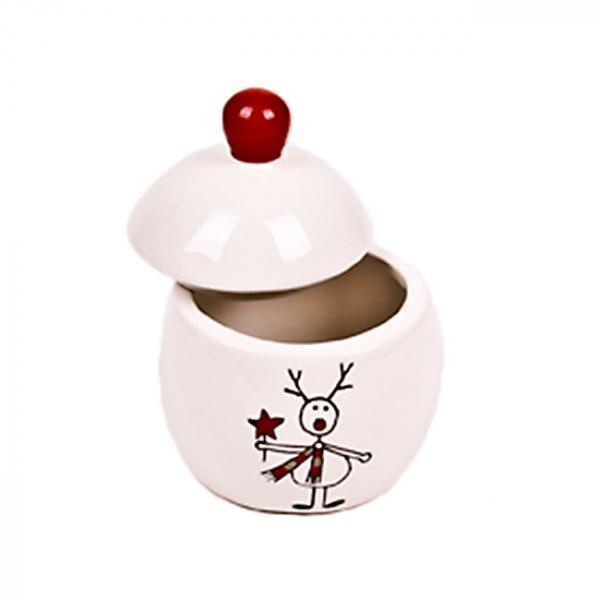 Borcan ceramic cu capac  Reindeer Childy 0