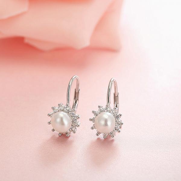 Cercei argint rodiat Flower Pearl [3]