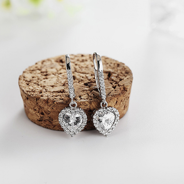 Cercei argint rodiat Heart 1