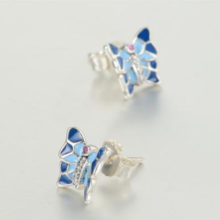 Cercei Butterfly Blue argint 3